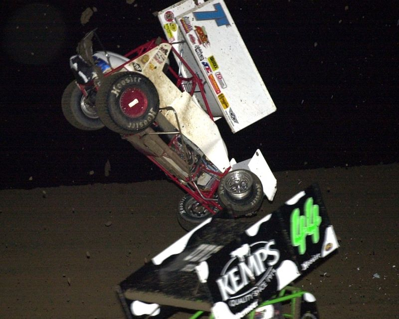 Rob Hartman went for a wild ride in Friday night's 25-lap ASCS Midwest Region