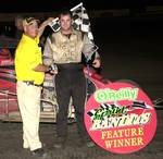 Robert Ballou victory lane Friday night's O'Reilly Sprint Bandits TNT Lakeside