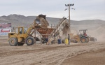 Dirt being sifted to take out the rocks at Reno Tahoe Fernley Speedway