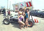 Steve Kinser with models at the Devil's Bowl.