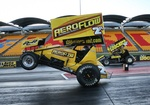 USC Rocket Industry Sprintcars on the quarter mile in Sydney. Ben Atkinson and Sammy Walsh putting on a show.