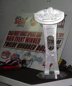 USAC West Coast 360's 1st trophy. Won by Bud Kaeding at Tulare March 2011